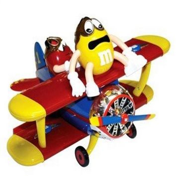 M&M's World Red and Yellow Character Barnstorming Airplane Candy Dispenser