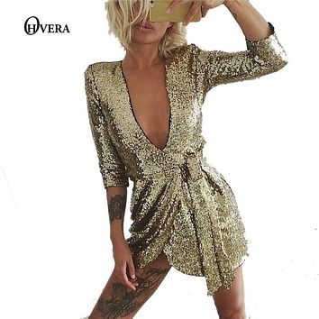 OHVERA 2017 new party women sexy Dress Gold and Black Sequins  Dress deep V short sleeve mini Dress for the women Clubbing Wear