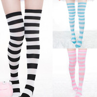 Sexy Lady Over The Knee Thigh High Long Striped Stocking In three Colours