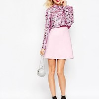 ASOS | ASOS Premium Embellished Collar Crop Top Skater Dress With Long Sleeves at ASOS
