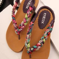 Colorful Braided Flat Sandals TK060506