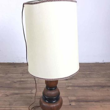 Vintage Wood Table Lamp with White Shade