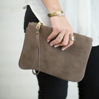 Textured Zip Clutch Bag