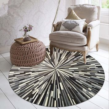 Geometric striped rugs black and white gray simple abstract pattern round carpet study computer tables and chairs mats Door Floo