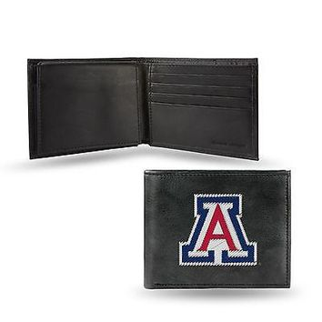 Arizona Wildcats Wallet Premium Black LEATHER BillFold Embroidered University of