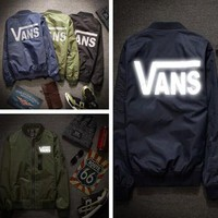 Day-First™ VANS: the spring and Autumn Period jacket men and women 3M reflective Baseball Jacket