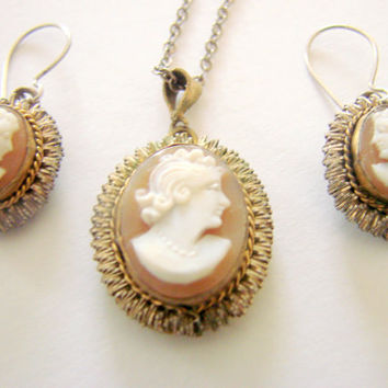 Victorian Revival Hand Carved Cameo Necklace / Pierced Wire Matching Earrings / Vintage Demi Parure / Pendant  / Jewelry / Jewellery