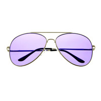 Colorful Lens Large Silver Metal Classic Mens Womens Aviator Sunglasses A1750