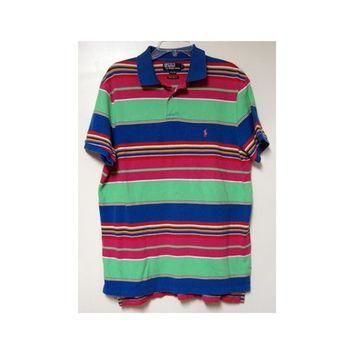 Ralph Lauren Polo Shirt M L vintage 80s Custom Fit Tropical Surf Stripes Mens Sapphire