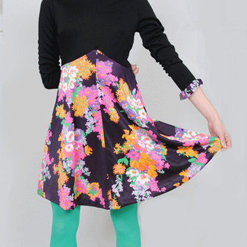 Vintage Floral Dress 1960s Ruffle Collar Mini 60s Mod Party Cocktail Colorblock Minidress Small