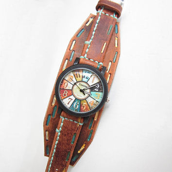 Vintage Womens Watch, Leather Cuff Watch, Bracelet Watch
