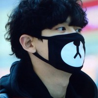 Kpop EXO Lucky Bear Black Mouth Mask