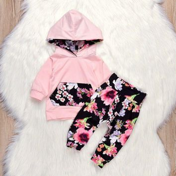2PCS Newborn Kids Baby Girls Sweatshirt Hoodies+Pants Floral Clothes Outfits Set