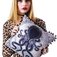 Sourpuss Clothing Kraken Up Pillow Tan One
