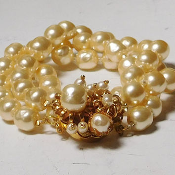 Miriam Haskell Faux Baroque Pearl Triple Strand Bracelet High End Designer Signed Jewelry for the stars! Bridal jewelry 3 Strand Edwardian