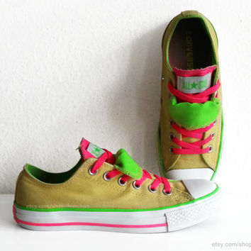 Neon Converse low tops with double tongue, yellow, hot pink, acid green sneakers, rave shoes, neons. Size 39 (UK 6, US wo's 8, US men's 6)