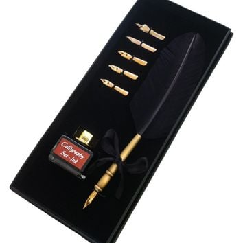 Calligraphy Set - Quill Pen (Black) with Real Feather and Stainless Steel Nib