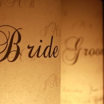 Bride & Groom Place Card Lumies - Sweetheart Table
