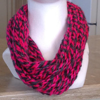 Pink and Gray Infinity Eternity Cowl Circle Scarf