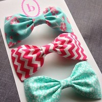 Retro Chevron hot pink bow hot pink and aqua floral bow handmade fabric bow tie hair bow Collection from Bowlicious Divas Bowtique