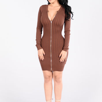 Dare You To Move Dress - Red Brown