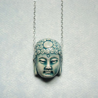 Buddha necklace.  Raku pottery.  Sterling silver chain.  Blue.  Spiritual.