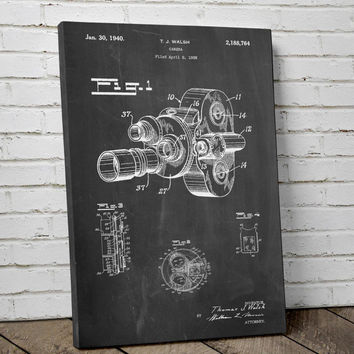 Bell and Howell Camera Color Filter Patent Canvas Art, Vintage Camera, Movie Canvas, Movie Camera, Canvas Wall Decor