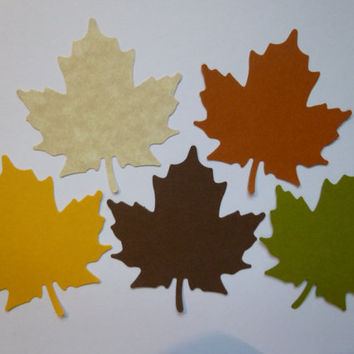"50 Large Maple Leaves- Autumn Colors- 2"" Wish Tree Tags, Thanksgiving Decorations, Fall Decor, Scrapbook Embellishments"