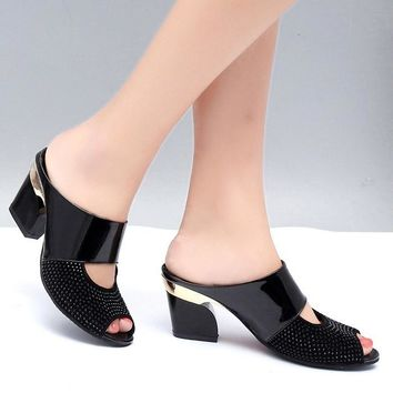 BOYS Hot Sale Women Rhinestone Wedge Heel Slippers Fish Mouth Sandals Shoes