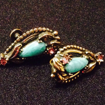 Vintage Screwback airings with greenstone and pink rhinestones and leaf design, brass tone