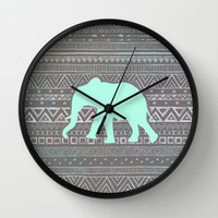 Mint Elephant Wall Clock by Sunkissed Laughter