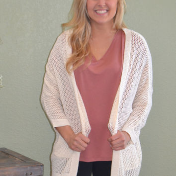 Open Front Pocket Knit Cardigan: Cream