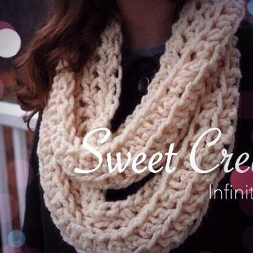 Sweet Cream Crochet Infinity Scarf
