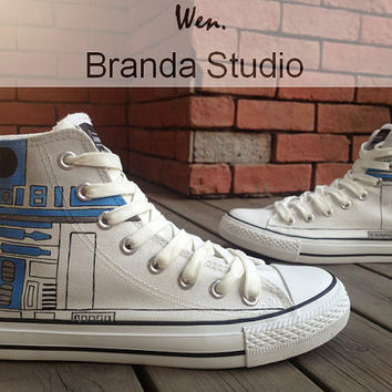 951759d12681b Star Wars R2D2 Shoes,Studio Hand Painted Shoes High Top 52.99 Usd,Paint On  Custom Converse Shoes Only 92Usd,Buy One Get One Phone Case Free