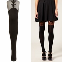 Bow Suspender Tights - Tights  Socks  - Clothing  - Topshop