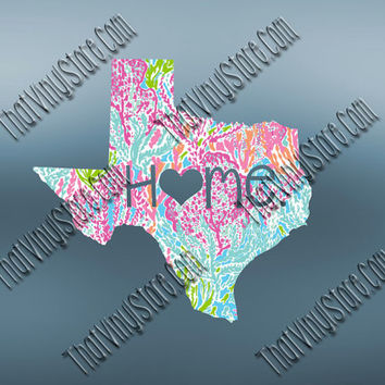 Texas Heart Home Decal | I Love Texas Decal | Homestate Decals | Love Sticker | Preppy State Sticker | Preppy State | 083