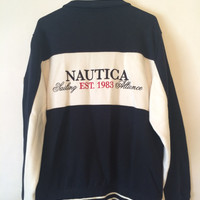 NAUTICA Zip Up Sweater with Patch on arm Navy Blue and White Size Large