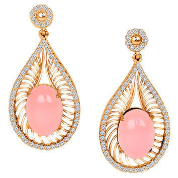 Diamond and Pink Quartz  Earrings