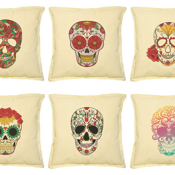 Sugar skull-1 Printed Khaki Decorative Throw Pillows Case VPLC_02 Size 18x18