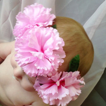 Wedding Flower Halo - Flower Halo - Flower Headband - Pink Flower Crown - Flower Girl - Hippy Headband -Carnation - Pink Flower Crown