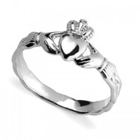 Ladies Silver Claddagh Ring With Celtic Weave | Claddagh Jewellers