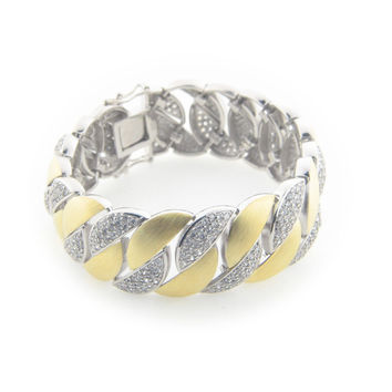 High Luxe Cubic Zirconia Ice Links Bracelet Sterling Silver Gold & Rhodium Plated by Fronay Co