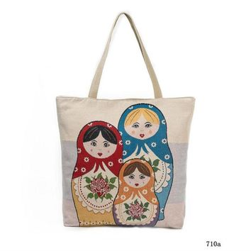 M428 Cartoon Love Wooden Doll Printed Shoulder Bag Women Large Capacity Female Shopping Bag Canvas Handbag Summer Beach Bag