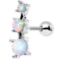 White Synthetic Opal Steel Triad Left Tragus Cartilage Earring | Body Candy Body Jewelry
