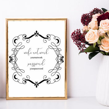 Guest wifi print, Wifi password printable 5x7, 4x6, 8x10, Wifi guest printable, Elegant wifi sign personalized, Wifi sign for guest room