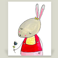 Zinnie the Rabbit Art Print by LadyLucas on BoomBoomPrints