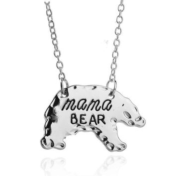 Cute!! Gold Or Silver Tone Personalized Mama Bear Necklace