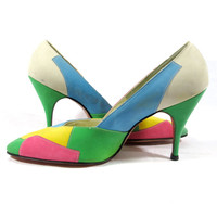 1960's Stiletto Pumps, High Heels in brilliant abstract suede