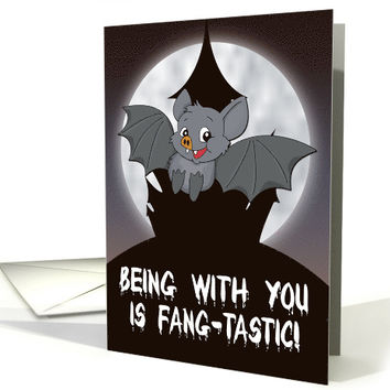 Cute Bat with Castle and Moon Halloween card