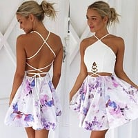 Summer Spaghetti Strap Strapless White Mosaic Print One Piece Dress  [4919901828]